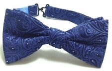$90 Countess Mara Mens Blue Silver Paisley Dot Bow Tie Silk Adjustable Bowtie