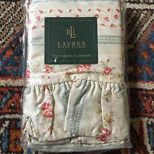 NIP Ralph Lauren Highfields Small Floral Stripe Standard Ruffled  Pillowcases x2