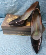 Beautiful 50s Spike heel black lizard point toe pumps 7 Aaa Berne of Switzerland