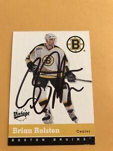 Brian Rolston Signed 00/01 Vintage Boston Bruins Card #26