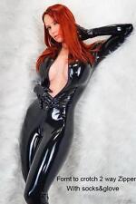 Sexy Black Faux Wet PVC Look Catsuit Jumpsuit 2 way zip  up front fetish 5125
