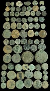 Roman period, 78  coins uncleaned lot