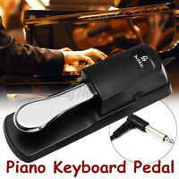 Universal Electric Piano Keyboard Sustain Damper Pedal Foot Switch Silver