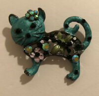 Betsey Johnson Teal Cat w/Flowers Brooch New With Tag ~Free Shipping~