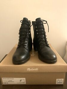 MADEWELL PATTI LACE UP BOOT Size 5,Black Leather Boots AA202 slightly used w/box