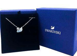 New Authentic Swarovski Rhodium Rose Gold Crystal Iconic Swan Pendant Necklace