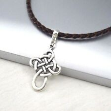 Silver Alloy Celtic Symbol Cross Pendant Braided Brown Leather Ethnic Neckl