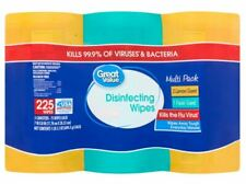 "Disinfecting Wipes 3x75 each 225ct Total - 7""x8"" Kills 99.9% Bacteria & Viruses"