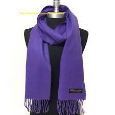 New Fashion 100% CASHMERE SCARF SCOTLAND SOLID Purple SUPER SOFT Warm Wool Wrap