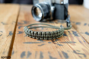 Paracord Camera Wrist Strap with Quick Release in Olive Green by apmots