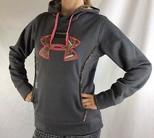 Under Armour Women's Fleece Sweater Hoodie Grey Camo Pink Size L