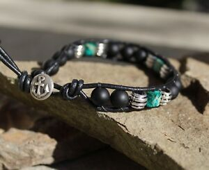 Men's Black Onyx and Jasper Beaded Black Leather Bracelet with Anchor clasp