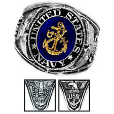 Official US Navy Deluxe Engraved Silver Color Ring -Size 10