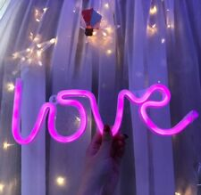1 Neon Love Sign Lights LED Neon Art Lights Wall Decorative For Valentine's Pink
