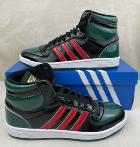 Adidas Top Ten Hi (RB) Black Green Red Patent FX7874 Men's Size 9.5
