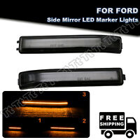 2Pcs sequential Smoke LED Side Mirror Signal Marker Light For Ford F150 09-2014