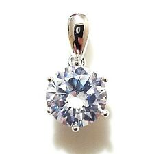 2 Ct Solid 14K White Gold 2 Ct Round Solitaire Diamond Pendant Charm Gift