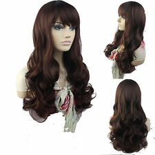 "25"" long wavy Women's WigS brown Natural With Bang Synthetic hair Heat Resistant"