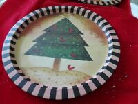 Vintage Holiday Serving Tray Metal Round 13'' Folk Art Christmas Tree-Red Birds