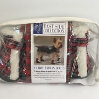 """East Side Collection Sherpa Dog Boots XL 4""""x2.5"""" Paw Holiday Tartan Red Green"""