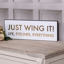 Just Wing It Plaque Wall Sign Hanging White Gold Metallic Funny Home Decor Gift