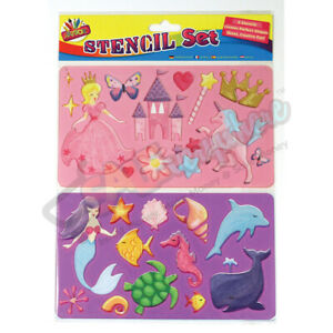 Kids Fun Stencils Set Fairy Design Pack of 2 Art Craft Colouring Activity