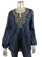 Lafayette 148 New York 4 Tunic Linen & Silk Blue Embellished Beaded Blouse Top