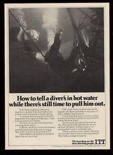 1978 deep sea diving diver photo ITT vintage print ad