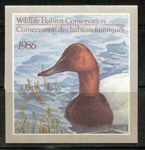 CANADA 1986, BIRDS, FEDERAL WILDLIFE HABITAT CONSERV. Scott FWH2, BOOKLET, MNH