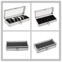 6 Grid Slots Jewelry Watches Display Storage Box Case Aluminium Watch Box Lot SY