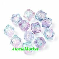 50 x beads two tone clear pink blue colour polygon acrylic plastic 8mm crafts