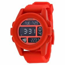 Neu! Nixon the Unit Rubber Red Rot Digital Silikon Uhr UVP*130€ A197-383 Armband