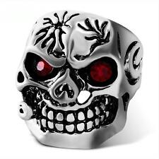 Large Silver Skull Ring with Red Crystal eyes ring SIZE 9   #R269