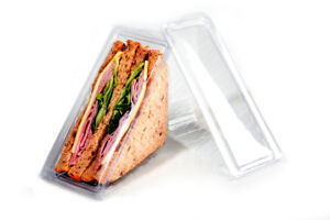 50 x Hinged Plastic Sandwich Triangle Wedge Catering Deli Picnic Packed Lunch
