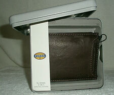 FOSSIL LEATHER INGRAM MENS BROWN WALLET - NEW - SLIDING 2-in-1 - BOXED