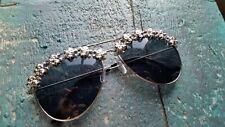 Sonnenbrille Pilotenbrille schwarz mit silbernen Totenköpfen Gothic Punk