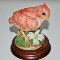 Baby Cardinal Andrea by Sadek  #6350 With Wooden Base Made in Japan Estate Find