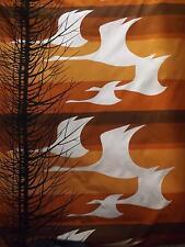 Mediados siglo moderno retro de tela de algodón 123 X 216 CMS de árboles & Gansos Panel