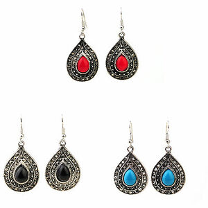 Vintage Silver Earrings Gemstone Effect with Sparkling Crystals