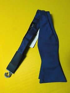 "NWT Tommy Hilfiger 100% Silk Bow Tie Blue 13 3/4 - 18"" Adjustable New"