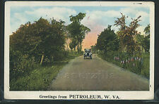 Wv Petroleum Lithograph c.1920 Greetings From Petroleum Roadside Car