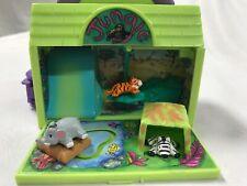 1995 Pound Puppies Jungle Folding Playset w/ 3 animals Zebra Tiger Elephant