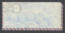 1969 Lettre Blocus du Canal de Suez 4 timbres UAR + étiq.Navire MS SINDH P2924