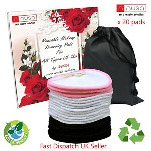 20xReusable Bamboo Cotton MakeUp Remover Pads Eco Organic Washable Face 3 Layer