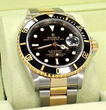 ROLEX Submariner 16613LN 18K Yellow Gold /Steel Black Bezel 2007 BOX/PAPER *MINT
