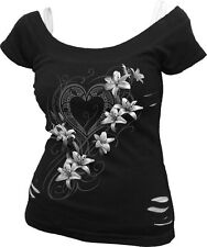 SPIRAL DIRECT NEW PURE OF HEART 2in1 Ripped Top,Ladies/Girls/Goth/Tribal/lilies
