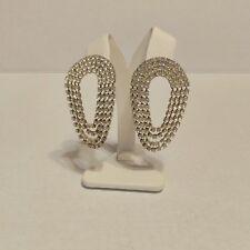 """Vintage Pierced Earrings Clear Rhinestone Mod Glamour Dangle 2.5"""""""