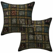 Decorative Cotton 16x16 Patchwork Embroidered Sequins Throw Pillow Covers
