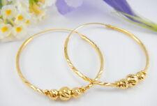LOVELY DIAMOND CUT HOOPS with 3 BEADS 22K 18K Yellow Gold GP Thai Earrings GT12