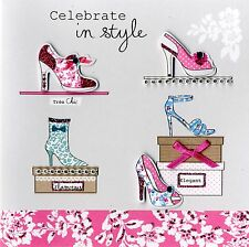 Embellished Shoes Celebrate Birthday Card Handfinished Greeting Cards